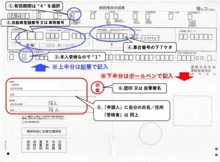 継続検査申請書の記入方法の説明した写真