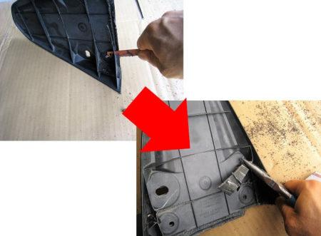 15.出っ張りを金ノコで加工する写真