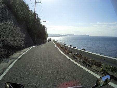 海岸線沿いに出た所の写真
