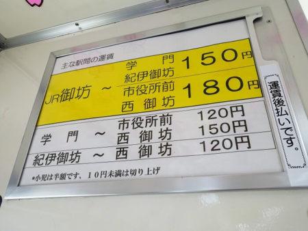 運賃表の写真