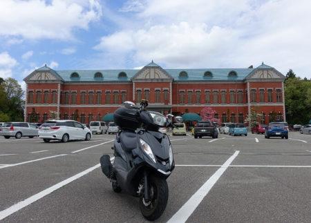 日本自動車博物館前での写真