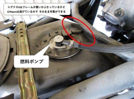 燃料ポンプに追いかぶさるフレームの写真