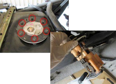 燃料ポンプを抜き取る写真