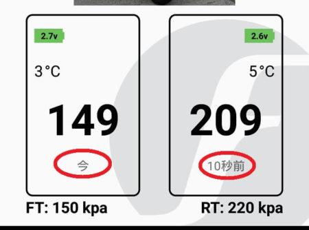 リアルタイムで計測される正確な空気圧数値の写真