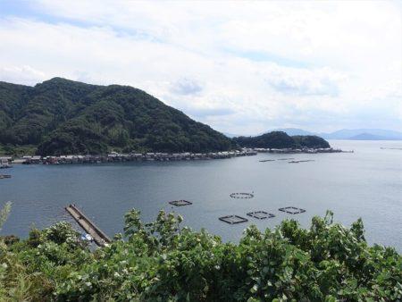 道の駅から見下ろす舟屋(亀島方面)の写真